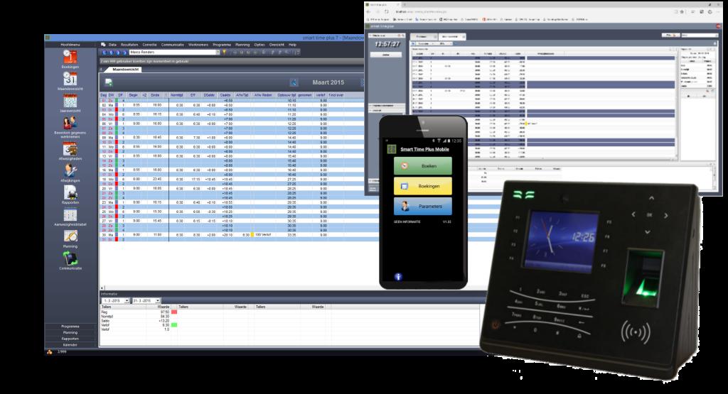 software en klok en phone en web